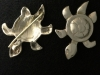 Lost Wax Cast Bronze Turtle Viking Turtle Brooches- Back